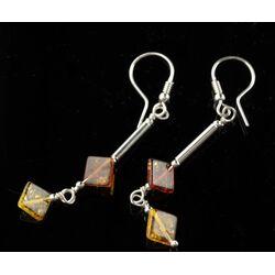 Baltic amber dangle sterling silver hook earrings