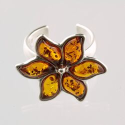 Multi Petals Baltic Amber silver adjustable ring
