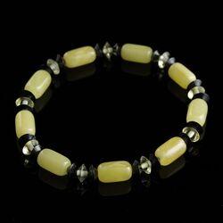 Butter cylinder beads Baltic amber stretch bracelet 18cm