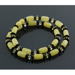 Butter cylinder beads Baltic amber necklace 16in