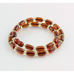 Cognac cylinder beads Baltic amber necklace 16in