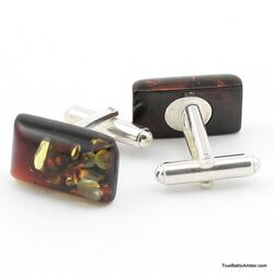 Modern Baltic amber sterling silver cufflinks