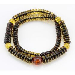 Faceted BUTTONS Baltic amber necklace 20in