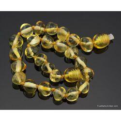 Lemon BAROQUE beads Baltic amber adult bracelet