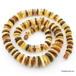 Multi BUTTONS Baltic amber necklace 25in