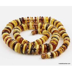 Multi BUTTONS Baltic amber necklace 24in