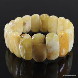 Anitique stretch butter pieces Baltic amber bracelet