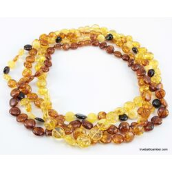 4 BUTTON beads Baltic amber necklace