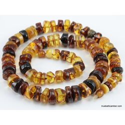 Natural honey BUTTONS Baltic amber necklace 24in