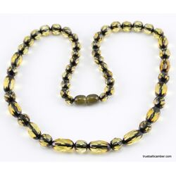 Faceted Baltic amber OLIVE beads necklace