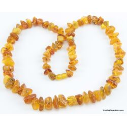 Antique style Butter NUGGETS Baltic amber necklace 26in