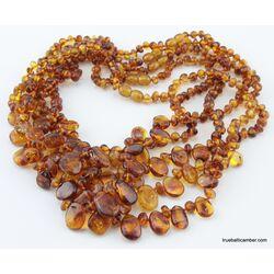 5 Cognac Leave shape nuggets Baltic amber chokers