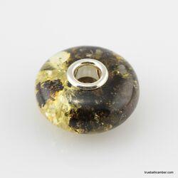 Dark Baltic amber PANDORA style bead