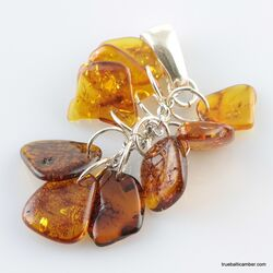 Dangling pieces Baltic amber pendant