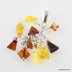 Dangling pieces Baltic amber pendant