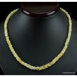 Overlapping White pieces Baltic amber necklace 18in