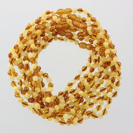 10 Multi ROUND Baltic amber teething necklaces 33cm
