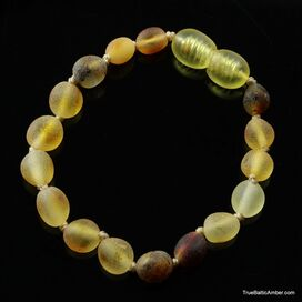 Mix Raw BEANS Baby teething Baltic amber bracelet