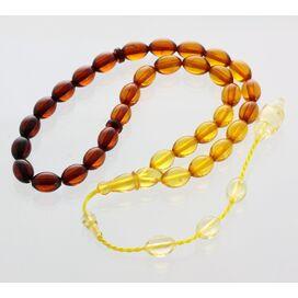 Islamic 33 Rainbow Prayer OLIVE Baltic amber beads rosary