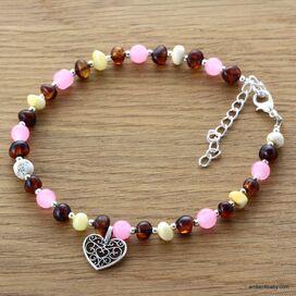 Heart Baltic Amber Anklet Gemstone Bracelet for Adults