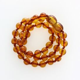 Cognac Round Teething Baltic Amber Necklace