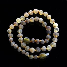Raw Green Baroque teething Baltic amber necklace
