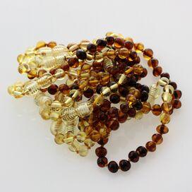 10 Rainbow BAROQUE Baltic amber teething bracelets 14cm