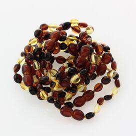 10 Multi BEANS Baltic amber teething Baby bracelets 14cm