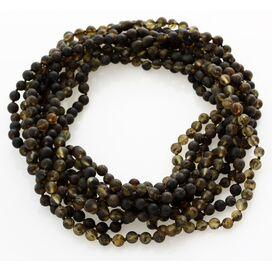 10 Raw Dark ROUND beads Baltic amber adult necklaces 46cm