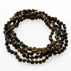 5 Raw Dark ROUND Baltic amber teething necklaces 33cm
