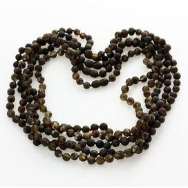 5 Raw Dark ROUND beads Baltic amber adult necklaces 50cm