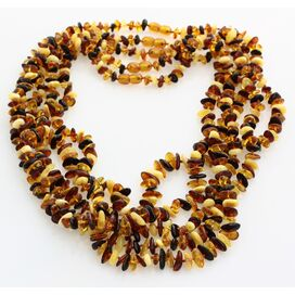 5 Multi CHIPS Baltic amber necklaces 55cm