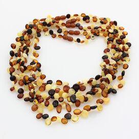 5 Multi Leaf Baltic amber Choker Leaves Necklace 46cm