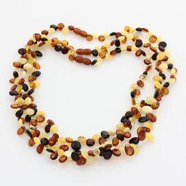 3 Multi Leaf Baltic amber Choker Leaves Necklace 46cm