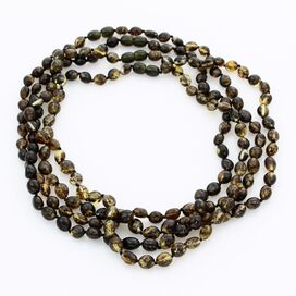 4 Dark BEANS Baltic amber adult necklaces 48cm