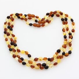 3 Muti BEANS Baltic amber adult necklaces 48cm
