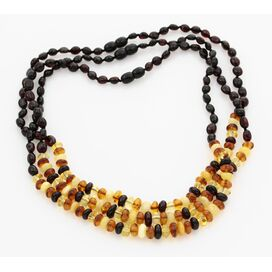 3 Composition Button beads Baltic amber necklace 48cm