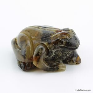 Carved Genuine BALTIC AMBER - Frog