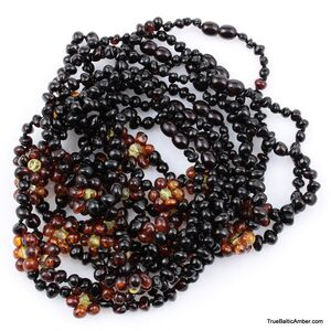 10 Flower BAROQUE Baby teething Baltic amber necklaces