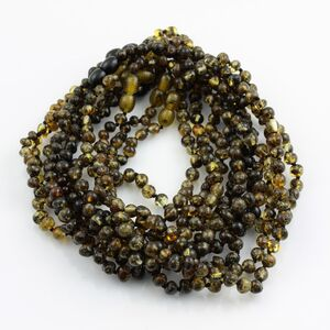 10 Dark BAROQUE Baby teething Baltic amber necklaces 32cm