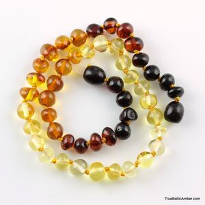 Reverse Rainbow Baltic Amber Teething Necklace For Babies