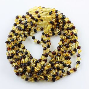10 Multi BAROQUE Baby teething Baltic amber necklaces 32cm
