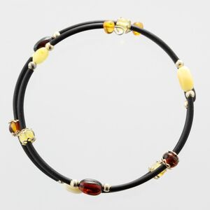 Wire Baltic Amber Bracelet for Adults