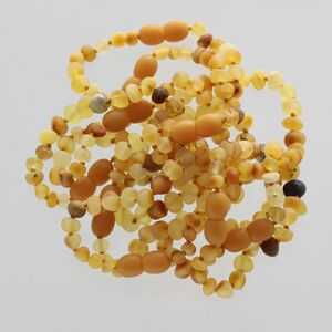 10 Raw Mix BAROQUE Baltic amber teething bracelets 14cm