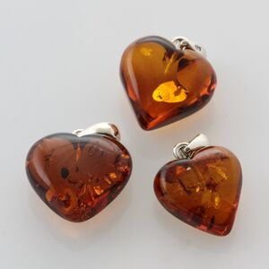3 Heart Shape Cognac Baltic Amber Pendants Charms