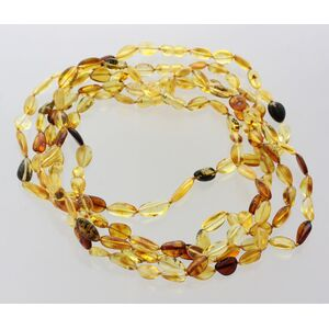 5 Mix BEANS Baltic amber adult necklaces 45cm