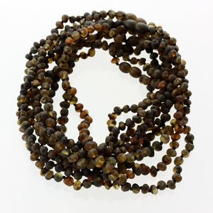 10 Raw Dark BAROQUE Baltic amber teething necklaces 33cm