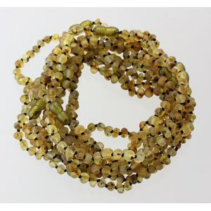10 Raw Green BAROQUE Baltic amber teething necklaces 28cm