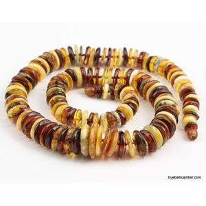 Mix buttons Baltic amber necklace 25in