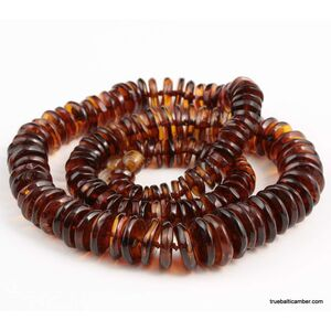 Cognac buttons Baltic amber necklace 22in